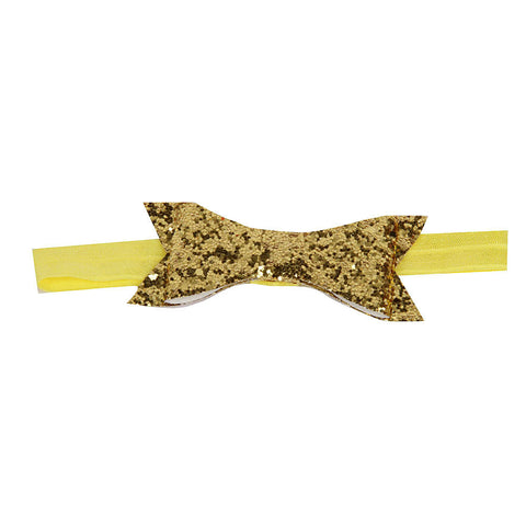 Glittery Bow Headband - Golden