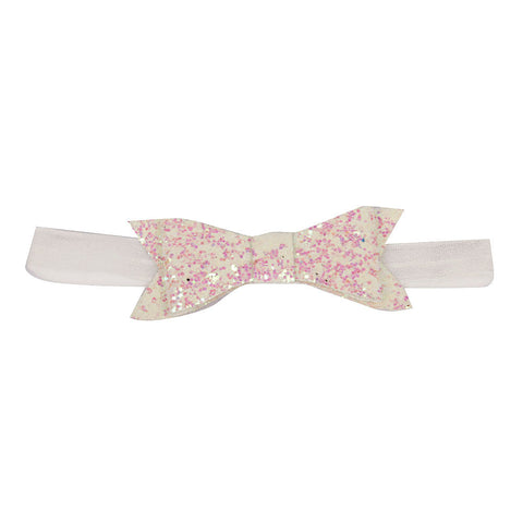Glittery Bow Headband - White