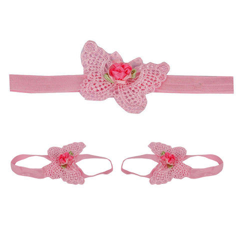 Butterfly barefoot headband combo - Pink