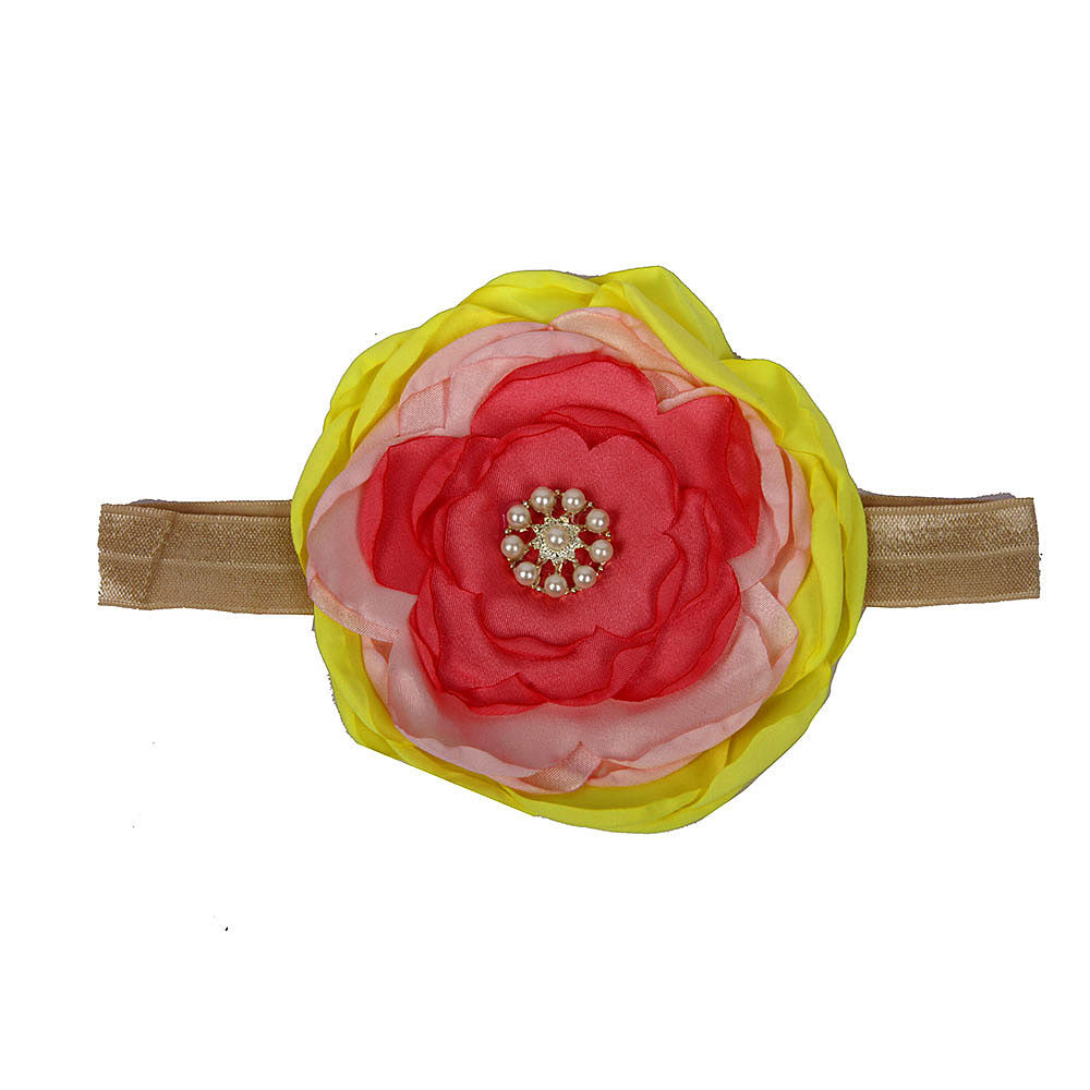 Multi Color Big Flower Headband with pearls