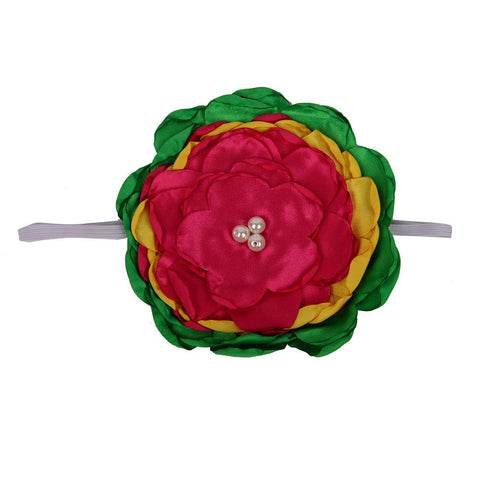 Big Flower Headband - Green Pink