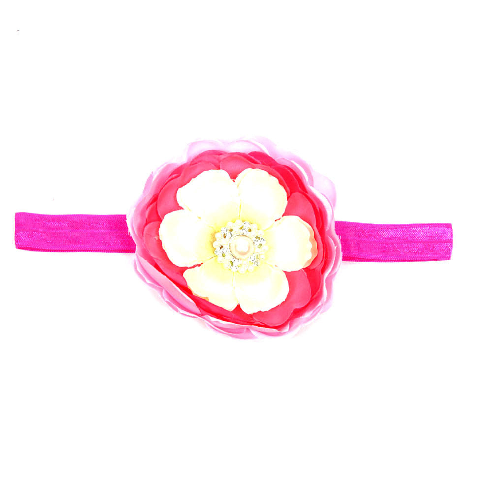 Big Flower Headband - Pink and Cream