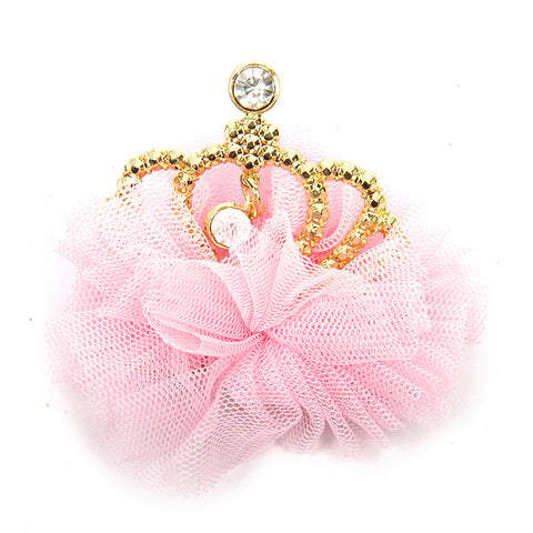 Tulle Crown Clip - Baby Pink