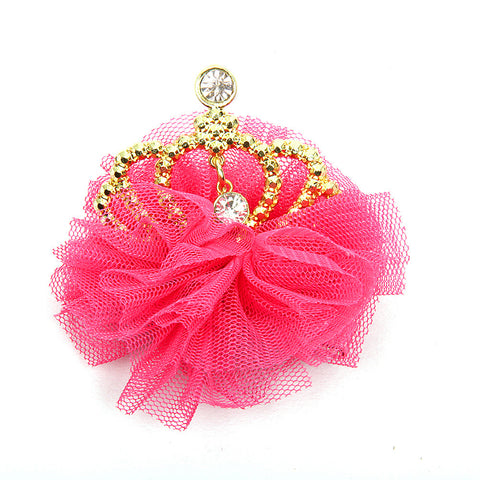 Tulle Crown Clip - Rose Pink