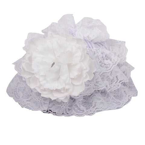 Pikaboo Ruffle Cap with Flower - White (3-18 Months)