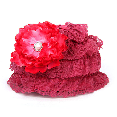 Pikaboo Ruffle Cap with Flower - Wine (3-18 Months)