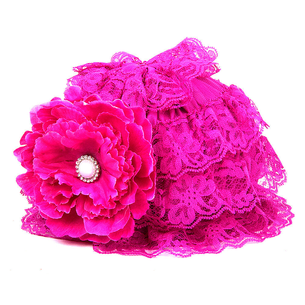 Pikaboo Ruffle Cap with Flower - Fuchsia (3-18 Months)