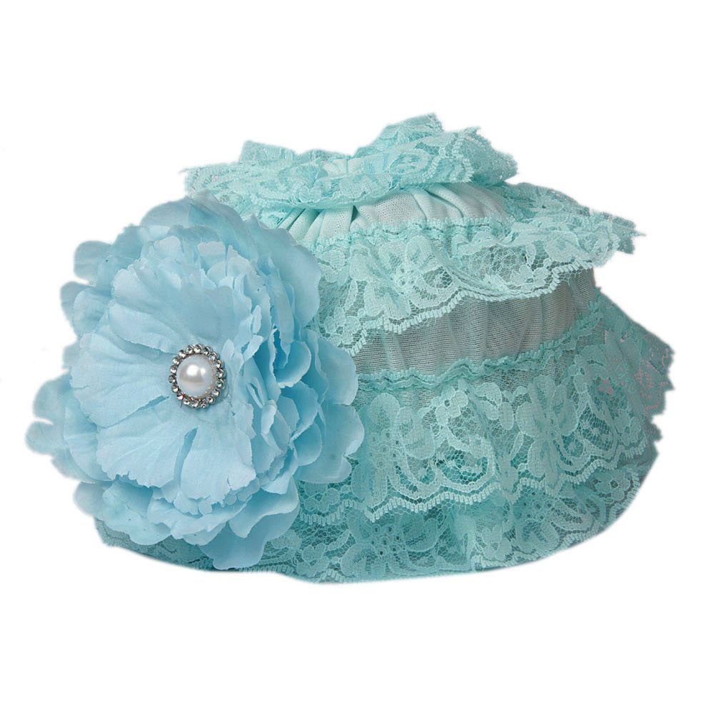 Pikaboo Ruffle Cap with Flower - Turquoise (3-18 Months)