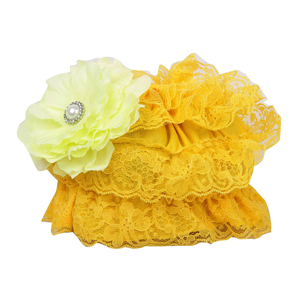Pikaboo Ruffle Cap with Flower - Sunshine Yellow (3-18 Months)