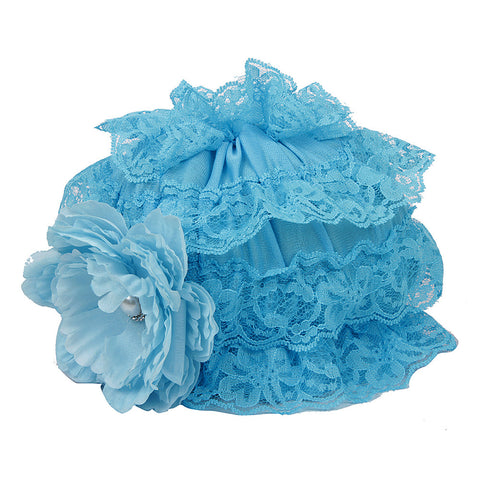 Pikaboo Ruffle Cap with Flower - Blue (3-18 Months)