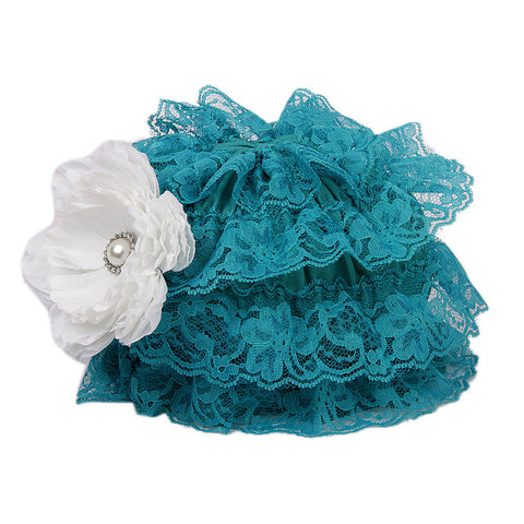Pikaboo Ruffle Cap with Flower - Teal (3-18 Months)