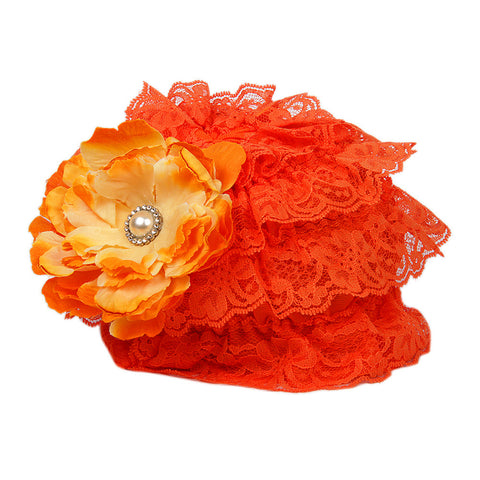 Pikaboo Ruffle Cap with Flower - Orange (3-18 Months)