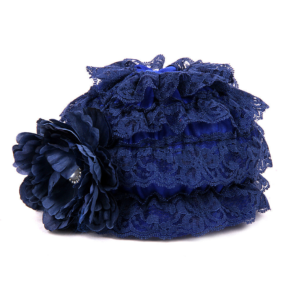 Pikaboo Ruffle Cap with Flower - Royal Blue (3-18 Months)