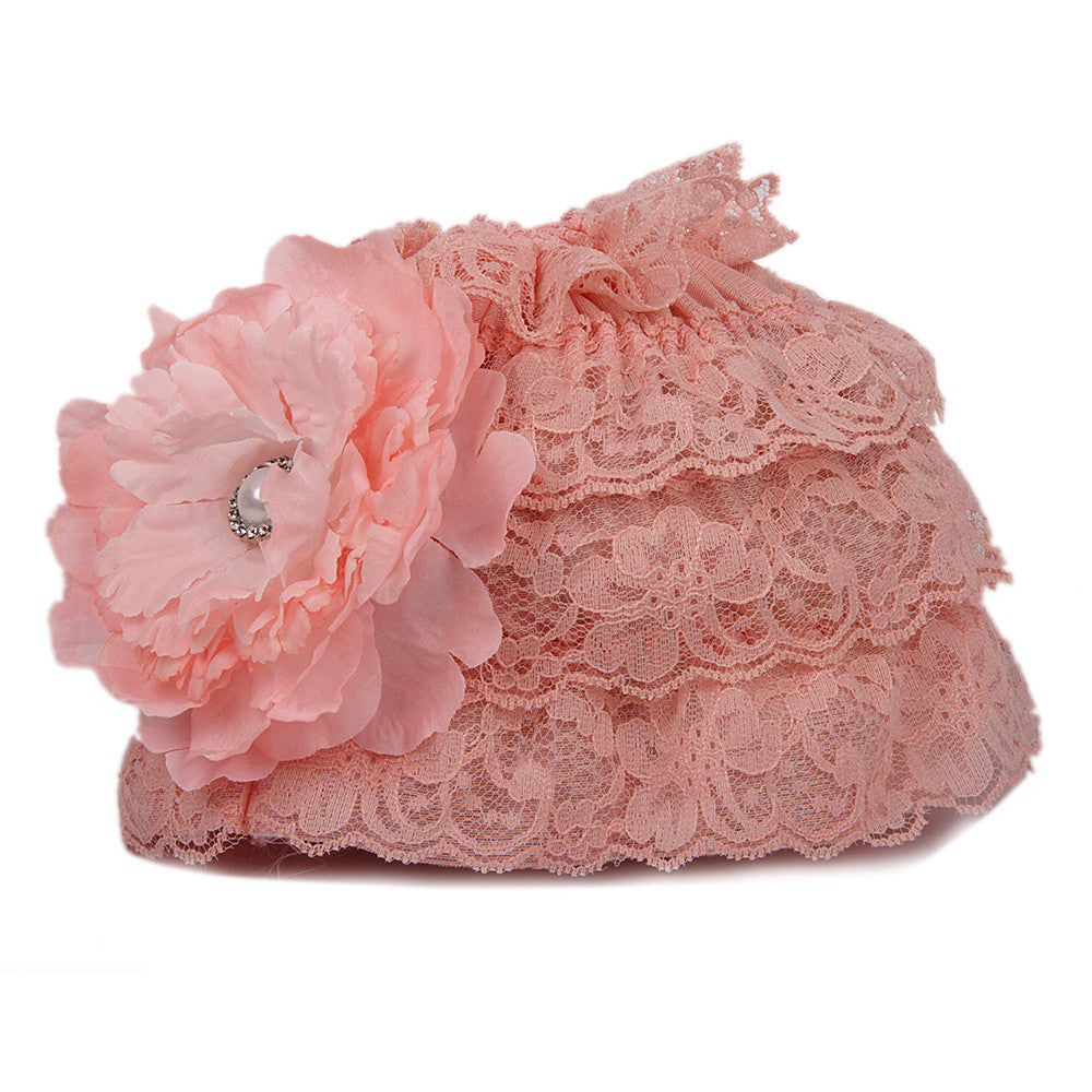 Pikaboo Ruffle Cap with Flower - Baby Pink (3-18 Months)