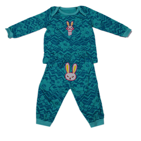 Green Bunny Night Suit with Full Sleeves