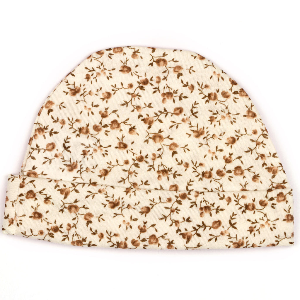 Off white floral printed baby cap