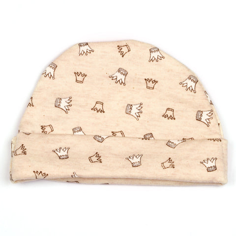 Crown printed baby cap