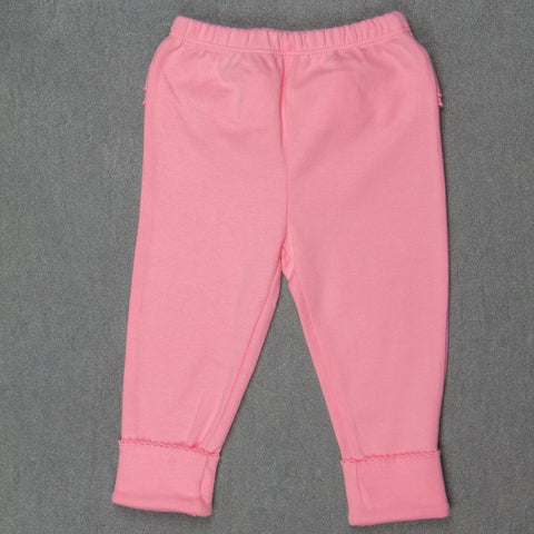 Solid D. pink Pants with Frills - Girls