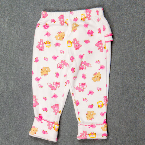 Pink cat print with Frills - Girls