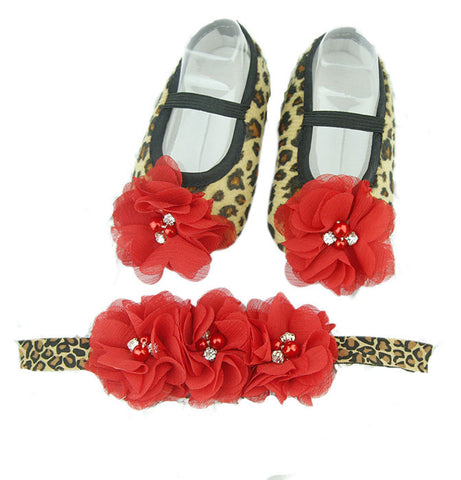 Pikaboo Newborn baby Headband baby Shoes combo - Leopard print Red