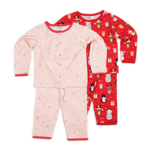 Cat Print Peach Top & Christmas Party Theme Print Red Top and Pant Set