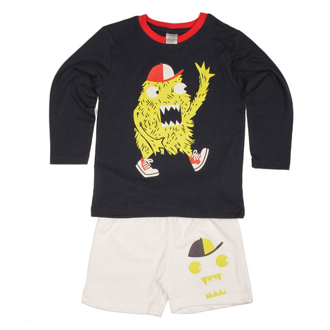 Baseball Monster T-shirt Shorts set- Navy