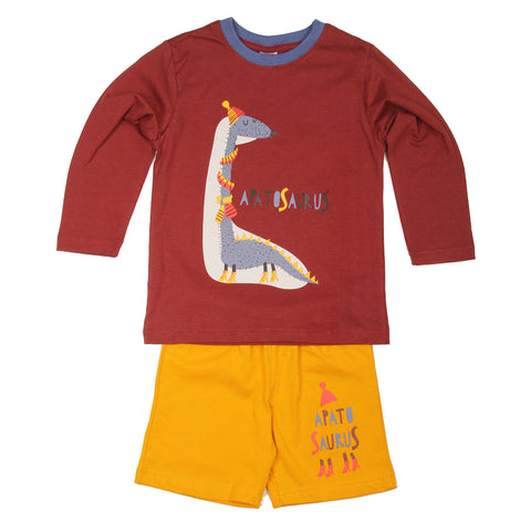 Warm little dinosaur T-shirt Shorts Set - Maroon