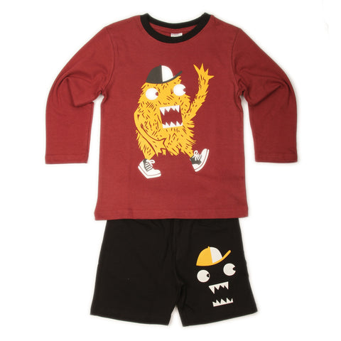 Baseball Monster T-shirt Shorts set- Maroon