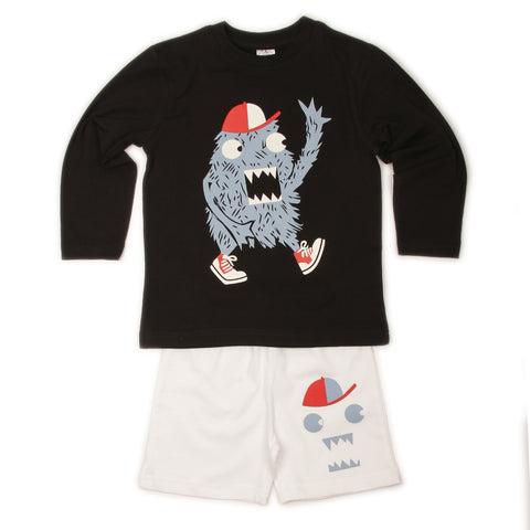 Baseball Monster T-shirt Shorts set- Black