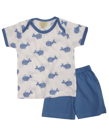 White base fish printed t shirt with blue shorts