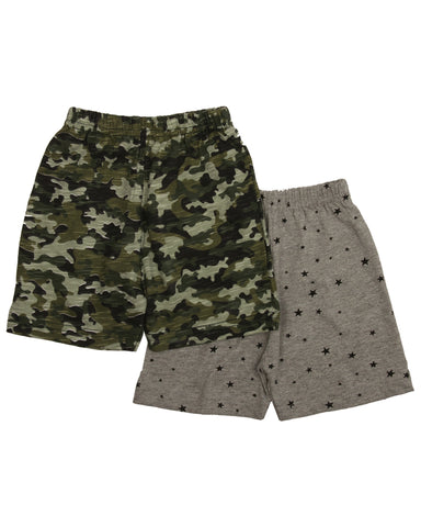 Camo & star printed combo shorts