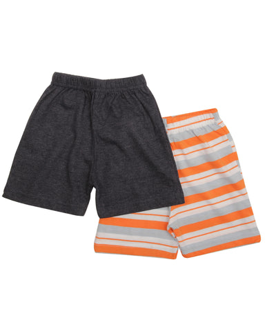 Orange yd, grey solid combo shorts
