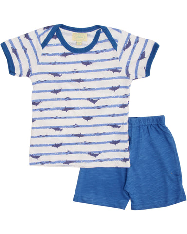 Blue stripe whale printed t shirt with blue shorts