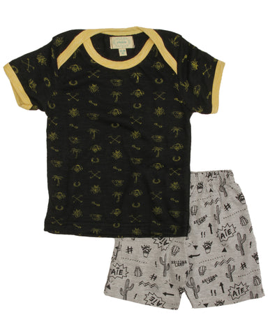 Black base yellow aop printed t shirt with cactus printed shorts
