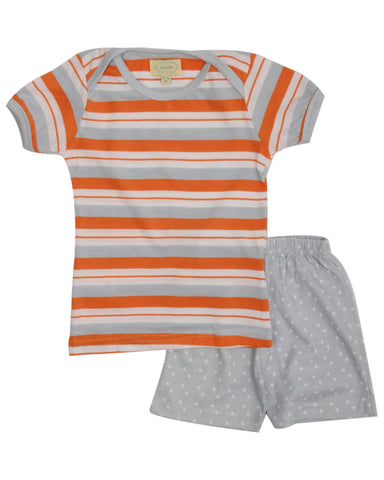Orange yd stripe t shirt with star printed shorts