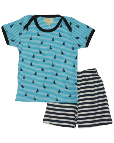 Blue stripe boat printed t shirt with navy stripe shorts