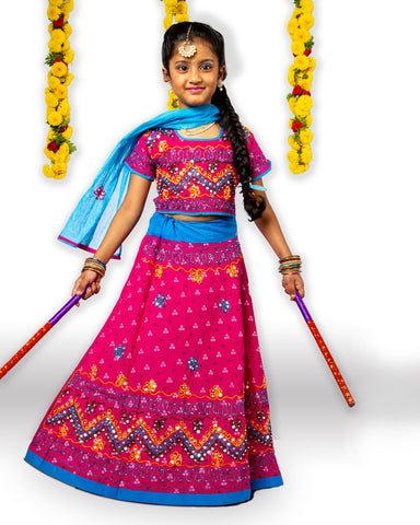 Pink Blue Girls Chaniya Choli