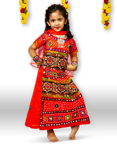 Orange black Girls Chaniya Choli