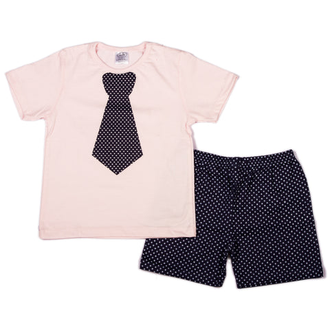 Baby pink solid Infant t shirts with tie chest print