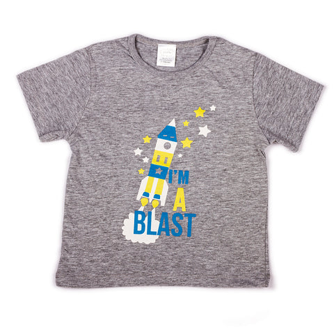 Grey Melange with chest printed infant boys t shirt