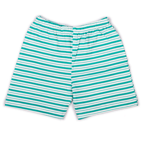 Green stripe printed infant boys shorts