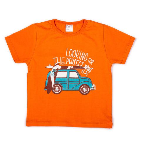 Solid orange with chest printed infant boys t shirt