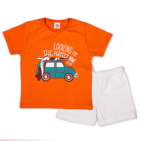 Solid orange t shirts with chest print with solid white shorts