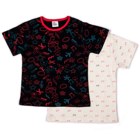 2 Pack tie bow/craft printed T shirts