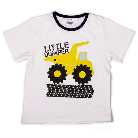 Solid white with chest printed infant t shirt