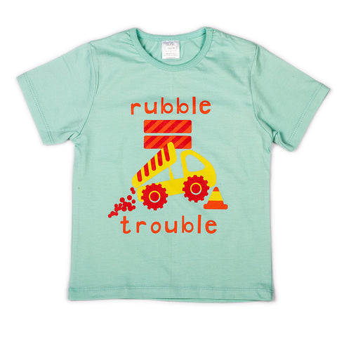 L. Aqua with chest printed infant boys t shirt