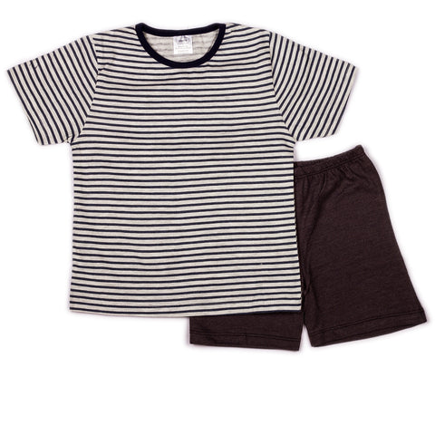 Navy stripe printed t shirts with solid shorts