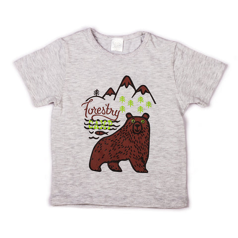 L. Grey Melange with chest printed infant boys t shirt