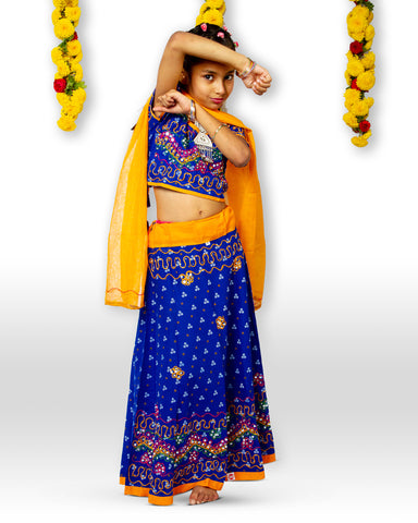 Blue Yellow Bandhani print chaniya choli