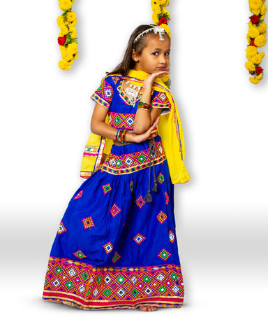 Blue Mirror Work Chaniya Choli